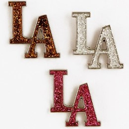 Los Angeles Initials Glitter Pin (each)