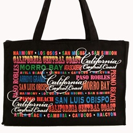 CA Central Coast Typography LG Canvas Tote