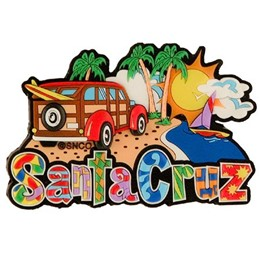 Santa Cruz Collage Laser Magnet
