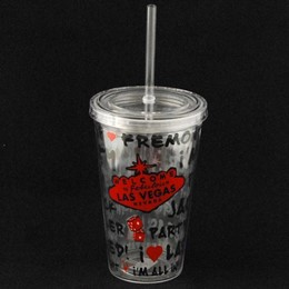 Las Vegas Graffiti Plastic Tumbler with Straw