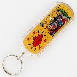 LAs Vegas Red Sign/Subway Oblong Acrylic Keychain