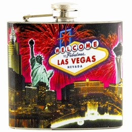 Las Vegas Fireworks Collage 5 oz Flask