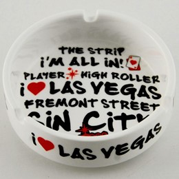 Las Vegas White Graffiti Round Ashtray