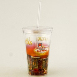 Las Vegas Sunset Plastic Tumbler with Straw