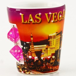 Las Vegas Sunset Collage with Dice White Shotcup