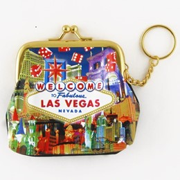Las Vegas Dice Collage Purse Keychain