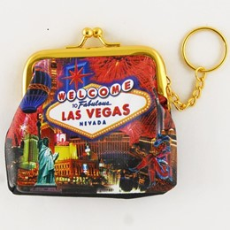 Las Vegas Fireworks Collage Purse Keychain
