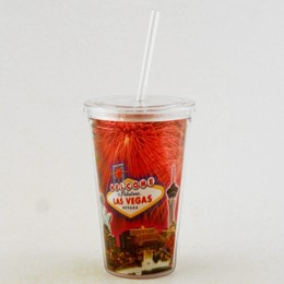 Las Vegas Fireworks Collage Plastic Java Cup with Straw