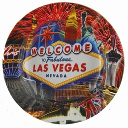 Las Vegas Fireworks Collage Round tin Ashtray