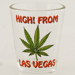 Las Vegas Hi! Green Leaf Shotglass