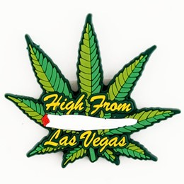 Las Vegas High! Green Leaf Rubber Magnet