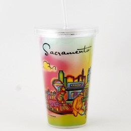 Sacramento Neon Rainbow Plastic Cup with Straw