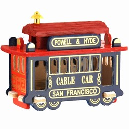 "San Francisco 3"" Cable Car Red and Blue Wood Magnet"