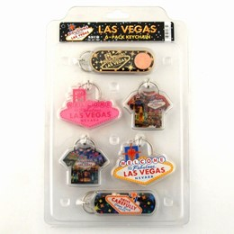 Las Vegas Sign/T-Shirt Acrylic 6-Pack Keychain