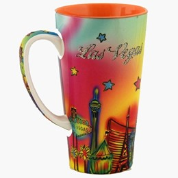 Las Vegas Neon Rainbow 17 oz. Java Mug with Glitter