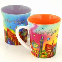 Las Vegas Neon Rainbow with Glitter 12 oz. Taper Mug (each).