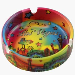 "Las Vegas Neon Rainbow 4"" Ceramic with Glitter Ashtray"