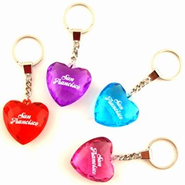 San Francisco Heart Shape Faceted Acrylic Keychain (each)