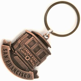 San Francisco Cable Car Frontview Copper Metal Keychain