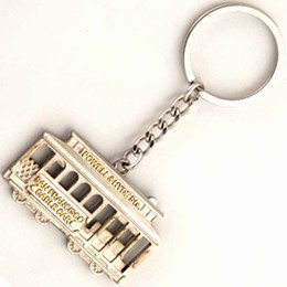 San Francisco Cabel Car Sideview Shiny Nickel Metal Keychain