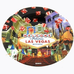 Las Vegas Dic Collage Round Tin Ashtray