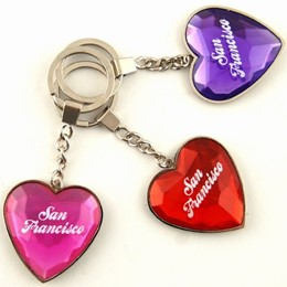 San Francisco Heartshape Acrylic/Metal Keychain (each)