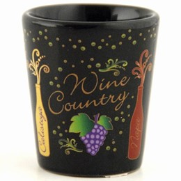California Wine Towns Black Shotcup