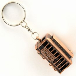 San Francisco Cable Car 3-D Antique Copper Metal Keychain