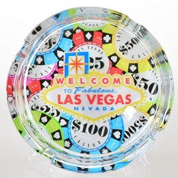 "LV POKERCHIP SPILL 4"" ROUND GLASS ASHTRAY"