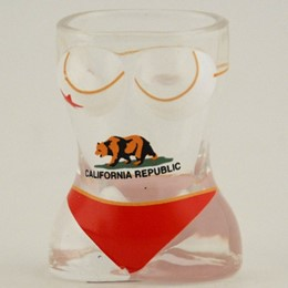 California Bear Flag Bikini Shaped Shotglass