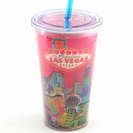 Las Vegas Pink Solar Plastic Cup With Straw