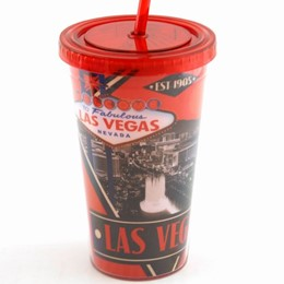 Las Vegas Red Deco Plastic Cup With Straw
