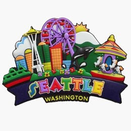 Seattle Colorful collage Magnet