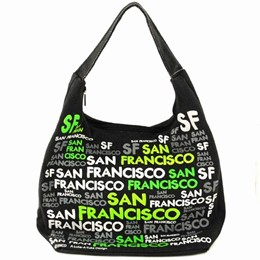 San Francisco Cut-Out Green On Black Hobo Bag