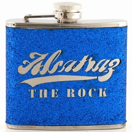 Alcatraz The Rock Script Dark Blue Glitter 5oz Flask
