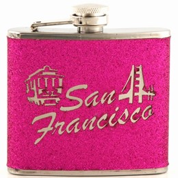 San Francisco Cable Car/Golden Gate Script Hot Pink 5oz Flask