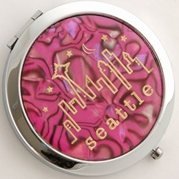 Seattle Typewritter Pink Pearlized Round Compact Mirror