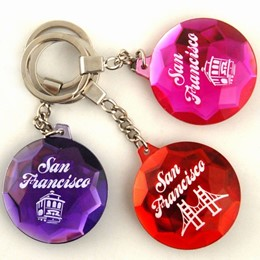 Cable Car/Golden Gate Faceted Round Acrylic Keychain (each)