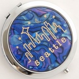 Seattle Typewritter Blue Pearlized Round Compact Mirror