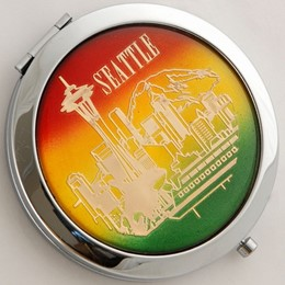 Seattle Skyline Rainbow Round Compact Mirror