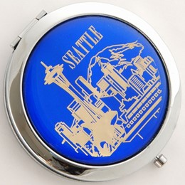 Seattle Skyline Blue Round Compact Mirror