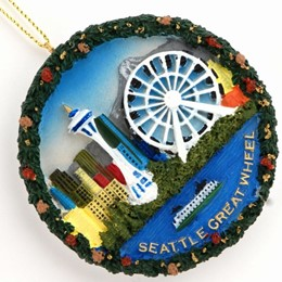 Seattle Great Wheel Round Poly Ornament