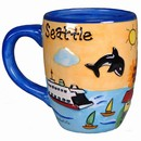 Seattle Puff Handpainted Orange Round Mug