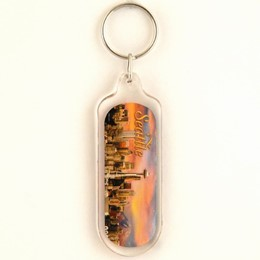 Seattle Sunset Oblong Acrylic Keychain