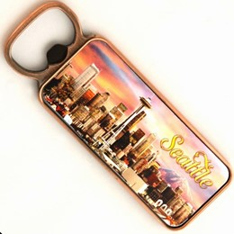 Seattle Sunset Rectangle Opener Magnet