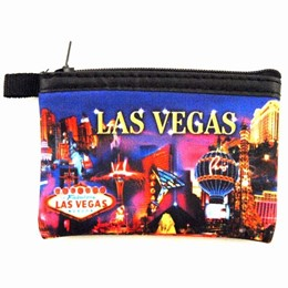 Las Vegas Metallic Collage Small Coin Purse - Neoprene