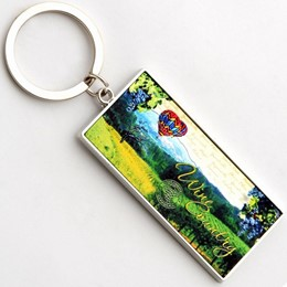 Wine Country Stamp Sheen Rectangle Keychain