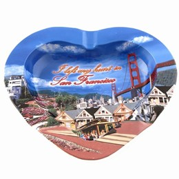 San Francisco Collage Heartshape Tin Ashtray