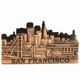 San Francisco Cable Car/Golden Gate Skyline Copper Business Card Holder
