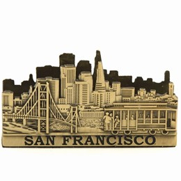San Francisco Cable Car/Golden Gate Skyline Bronze Business Card Holder